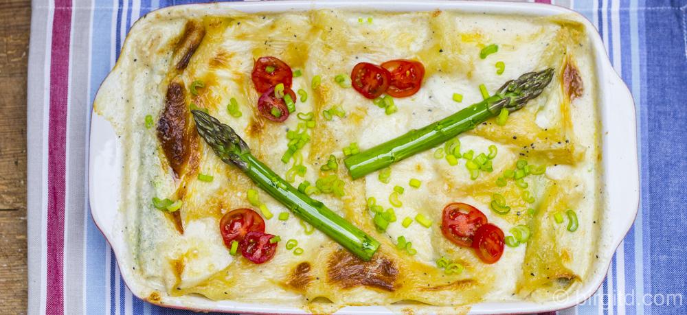 Lasagne mit grünem Spargel und King Prawns – der Frühlingsgenuss