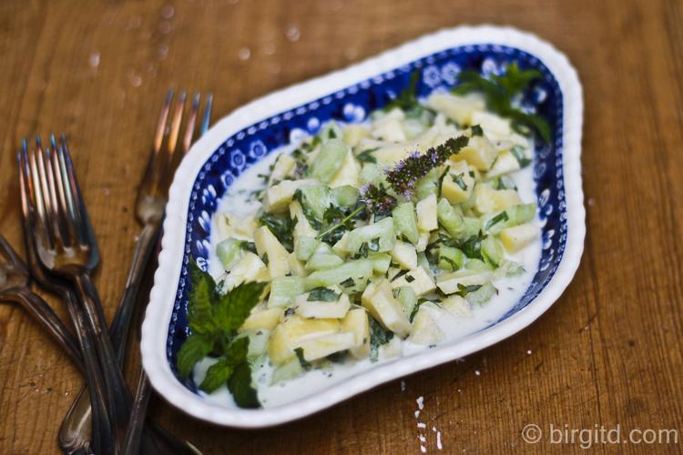 Gurkensalat mit Apfel und Minze