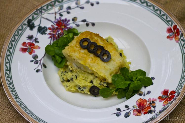 Kartoffel-Oliven-Püree mit Kabeljau-Filet