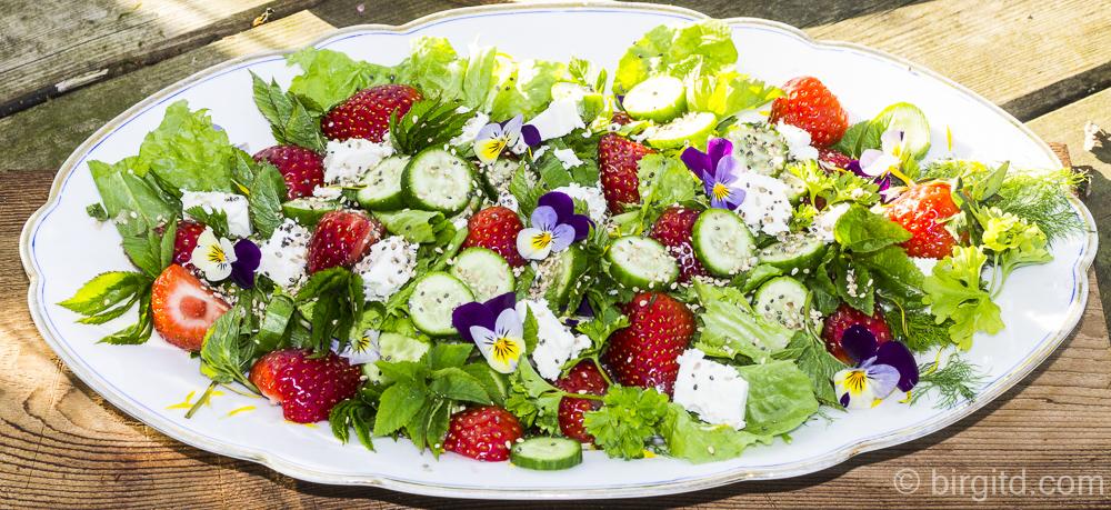 Frühlingsfrischer Salat mit Fenchel, Erdbeeren, Schafskäse, Chia & mehr