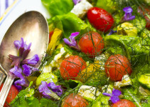 Sommersalat mit Melone, Schafskäse und vielen Kräutern