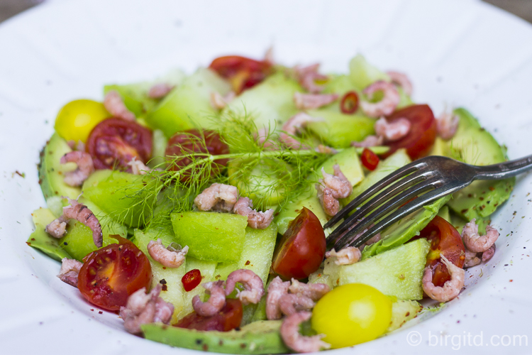Melonenrezepte: Salat mit Melone, Avocado, Tomate & Krabben