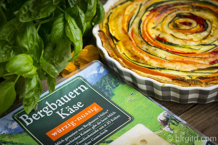 Gemüse-Quiche mit Bergbauern Käse