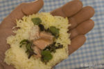 Reis mit Füllung formen für Arancini
